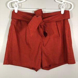 Express Rusty Sash Tie Linen Blend Shorts